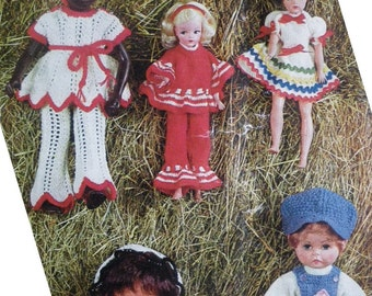 Dolly Book - Vintage Knitting Patterns 1970s 70s Dolls Clothes Crochet Patterns -  Sindy and 12 - 18 inch dolls - retro 70s boho fashions