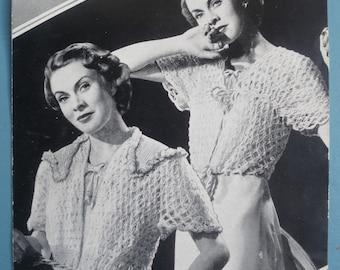 Vintage Crochet Pattern 1930s 1940s Women's Bed Jackets Dressing Jackets Lacy Cardigans 30s 40s original pattern Bestway No. 2146 UK