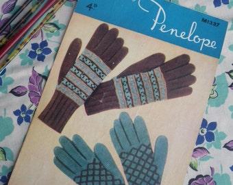 Women's Gloves Vintage 1930s 1940s Knitting Pattern by Penelope UK - Fair Isle Design - original 30s 40s knitting pattern - accessories