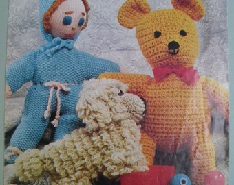 Vintage 1970s Crochet / Knitting Pattern for Three Soft Toys - Doll, Teddy and Dog - 70s original pattern