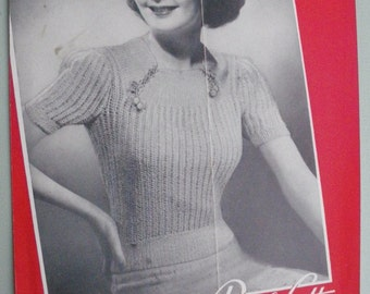 Vintage 1930s Knitting Pattern Womens Jumper / Sweater / Blouse - American Thread Company No 69 - 30s original pattern