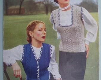 Vintage 1940s 1950s Knitting Pattern Women's Waistcoat and Sleeveless Pullover Vest Jerkin - 40s 50s original pattern Don Maid No. 223 UK