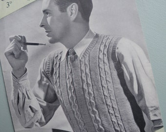 Vintage 1940s Knitting Pattern Men's Sleevless Sweater Pullover Vest 40s original pattern Patons P & B No. 696 UK wartime style