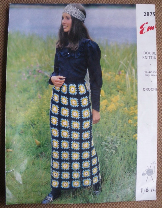 Vintage Crochet Pattern 1960s 1970s Maxi Skirt made from Crocheted Granny Squares - 60s 70s original pattern