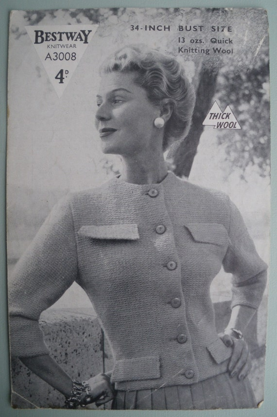 Vintage 1940s 1950s Knitting Pattern Womens Jacket Cardigan cropped fitted style 40s 50s original pattern