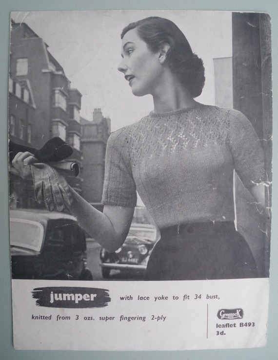 Vintage 1950s Knitting Pattern Womens Lacy Sweater Jumper 50s original pattern