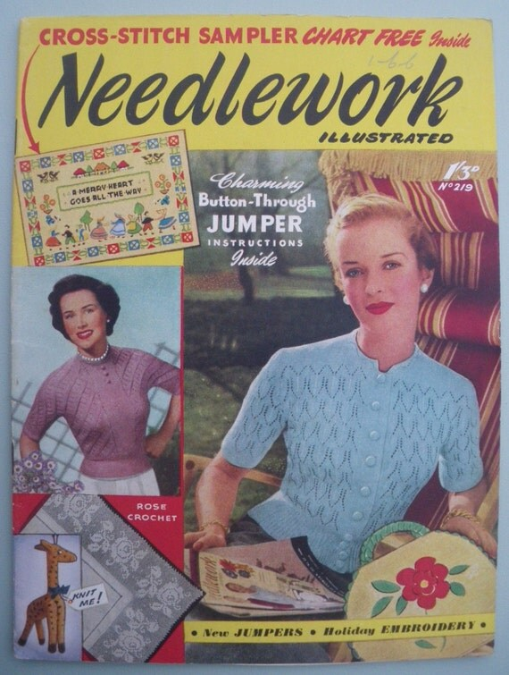 Knitting Sewing Embroidery Crochet Magazine Vintage 1950s - Needlework Illustrated No. 219 1953 - 50s knitting pattern womens