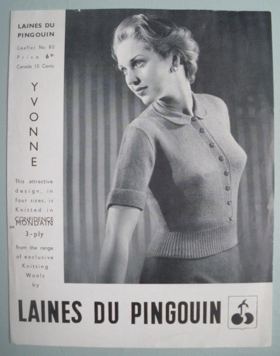 Vintage Knitting Pattern 1950s Womens Blouse Sweater Jumper with collar - 50s original pattern