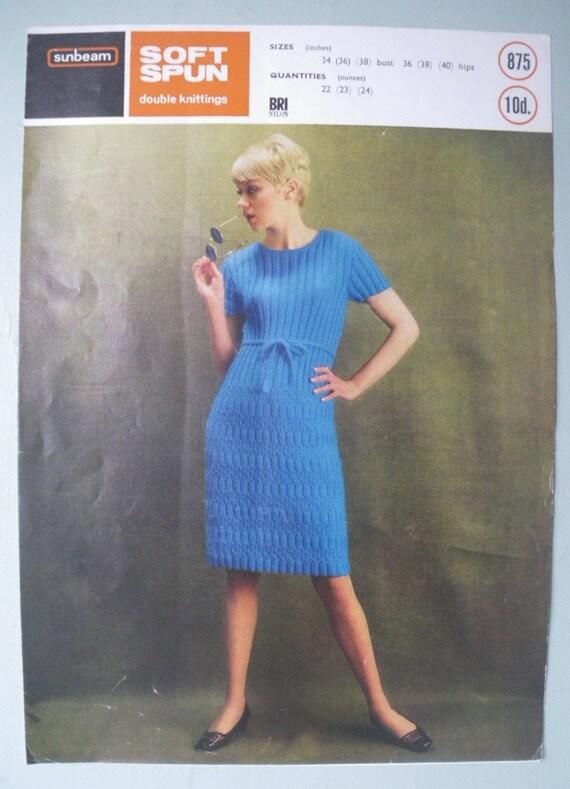 Vintage 1960s Knitting Pattern Womens Dress 60s original pattern