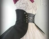 Black Cincher Skirt, Women's Black Skirt, Black Peplum, Women's Costume, Halloween Costume, Gothic Lolita Skirt