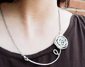 Rose necklace, Silver Aluminum, Wire jewelry