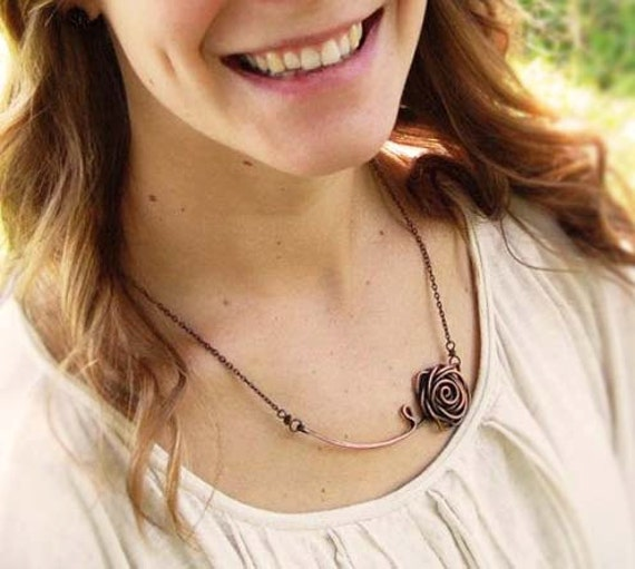 Rose necklace, Oxidized copper, Wire jewelry