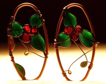 Holiday Jewelry. Holly Earrings. Ivy Earrings. Winter Berries Earrings. Dangle Earrings. Copper Earrings. Christmas Gift. Winter Fashion