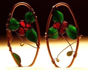 Holiday Jewelry. Holly Earrings. Ivy Earrings. Winter Berries Earrings. Dangle Earrings. Copper Earrings. Christmas Gift. Winter Fashion