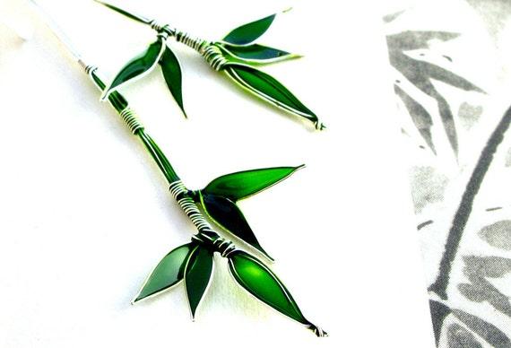 Silver Bamboo Earrings. Long Silver Earrings. Emerald Green Earrings. Emerald Green Jewelry. Silver Wire Jewelry. Lightweight Earrings
