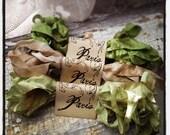 Seam Binding - Hand Dyed - Crinkled - GREEN - Herticot Vert - French Market - xo, j&L (SBHD S019)