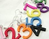 Novelty Earrings Numbers Wood Dangles in Neon Pink Red Yellow Orange Black Green White Blue Purple