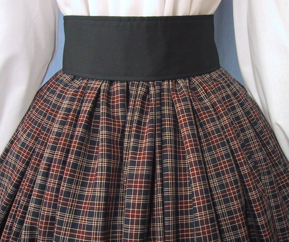 Scottish Festival - RenFaire Costume - Civil War Reenactment - Plaid Long Skirt - Handmade - Cotton Homespun Dark Navy and Red