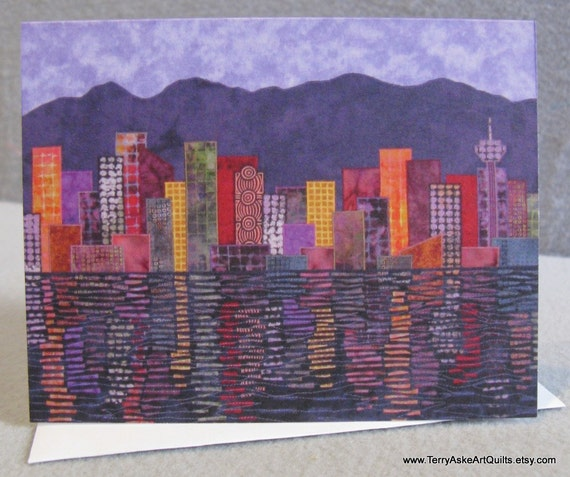 Art Quilt Note Card - Vancouver Cityscape at Dusk
