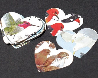 Bird Paper Hearts- 50 recycled paper hearts, vintage craft supplies, Valentine heart, party decoration, wedding confetti, embellishments