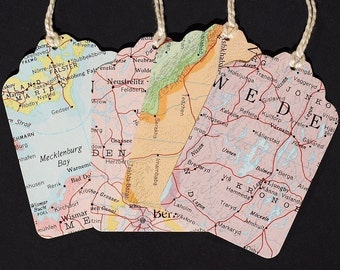 Map Gift Tags with string- 15 recycled vintage world atlas map blank tags, travel theme party favor tags, wedding favor tags