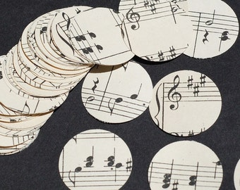 Sheet Music Circles- 100 1 inch vintage sheet music paper circles, weeding confetti, music party decorations, vintage craft supplies