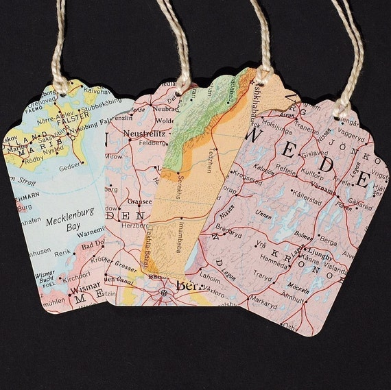 Map gift tags with string 15 recycled vintage world atlas map map gift tags with string 15 recycled vintage world atlas map blank tags travel theme party favor tags wedding favor tags from tanithsoddsandends on etsy gumiabroncs Choice Image