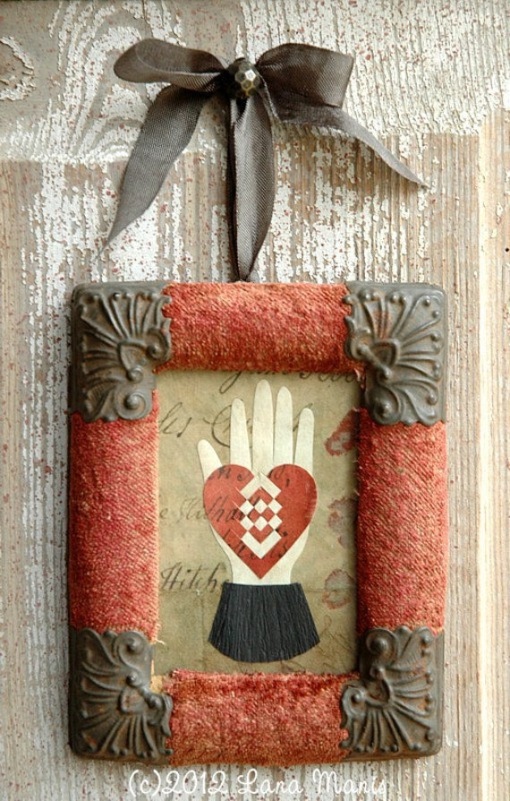 Rustic, Distressed, Heart in Hand Papercutting Love Token, Antique Velvet French Frame, Wedding, Anniversary, Engagement, Friendship