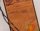 Digital Stamp French Pumpkin tag