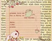 Digital Stamp Invitation Bunny Tea Party