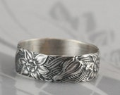 Signs of Spring Silver Wedding Band--Wide Sterling Silver Floral Patterned Ring--Daffodil Ring--Daffodil Band