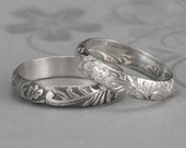 Silver Floral Band--Leaf and Flower Ring--Neoclassical Floral Ring--Sterling Silver Floral Patterned Wedding Band