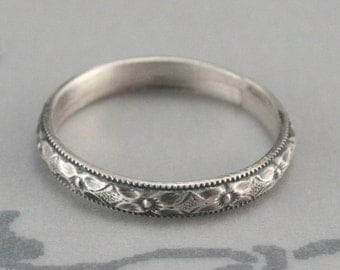 Renaissance Wedding Band or Stacking Ring-Diamond and Floral Patterned Sterling Silver Band with Milgraine Edge
