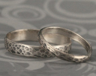 hammered bands matching sterling silver wedding ring set oxidized and brushed rings - Rustic Wedding Rings