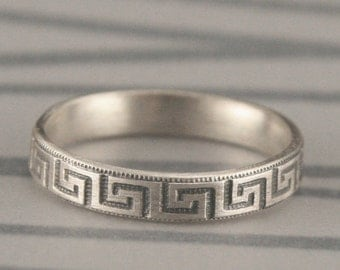 Greek to Me--Sterling Silver Greek Key Patterned Wedding Band--Sterling Silver Stacking Ring Made in YOUR Size