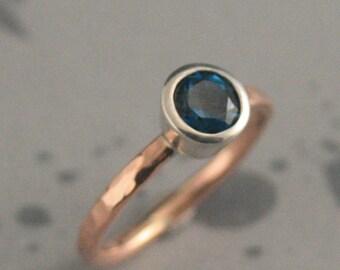 Faux Blue Diamond Engagement Ring~Rose Gold Hammered Band~Bezel Set~Genuine London Blue Topaz~Blue Topaz Ring~Alternative Engagement Ring