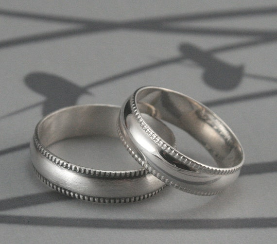 Women's Wedding Ring--Not Quite Plain Jane 5.5mm Wide Band--Sterling Silver Half Round Ring with Milgraine Edge--Men's Wedding Band