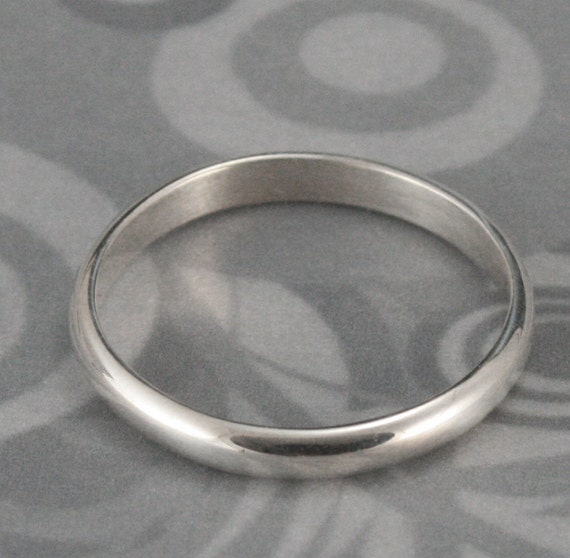 Plain Jane Sterling Silver 2.5mm Half Round Band Wedding Ring or Stacking Ring--Simple Elegant Thin Stackers