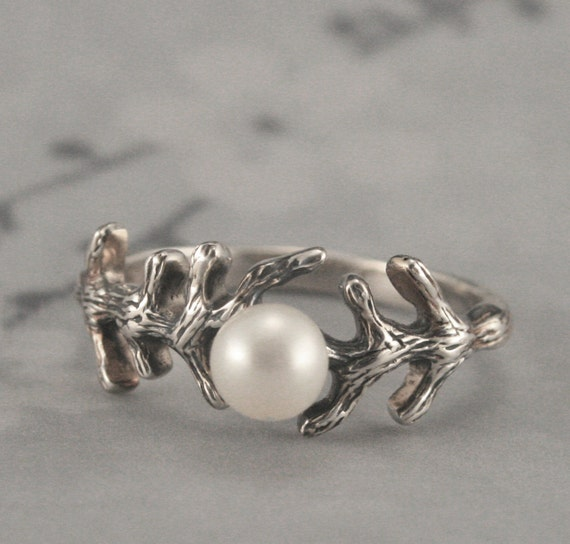 Sterling Silver Branch Pearl Ring--Set with your choice of Pearl Colors