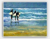 Family surf art, beach home decor, father, dad, 8x10 print from original surf painting by Cathie Carlson