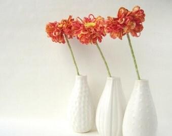 3 Fabric Flowers, handmade bouquet, papaya orange coral ribbon