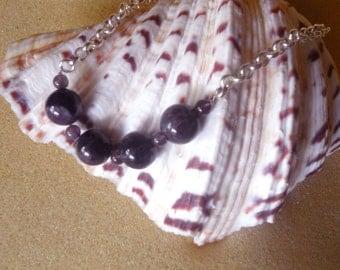 Purple Amethyst Bead Silver Necklace