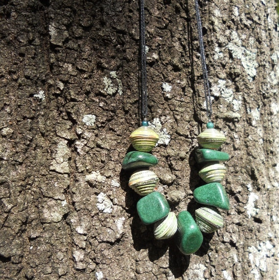 RICHARME  Fair Trade Paper Beads with Green Agate