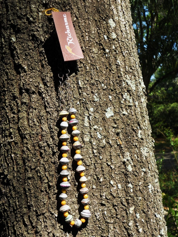 RICHARME  Fair Trade Paper Beads with Yellow  Agate from Nepal