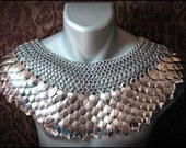 Deluxe Scale Mail Chain mail Mantle Stainless steel collar Dragon Scale Punk Cosplay LARP