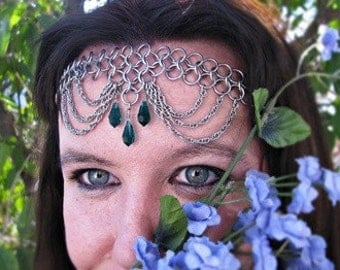 Emerald Crystal Chainmail Headband Choker chain mail  crown tiara