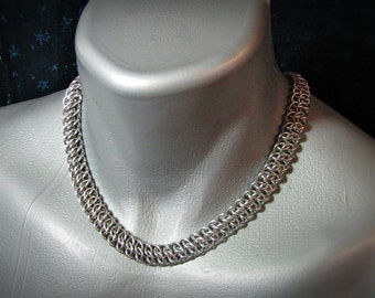 Classic Chainmail choker stainless steel Crosshatch weave punk rock