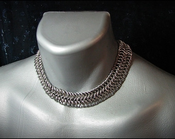Classic Chainmail choker stainless steel 6-1 weave punk rock renaissance