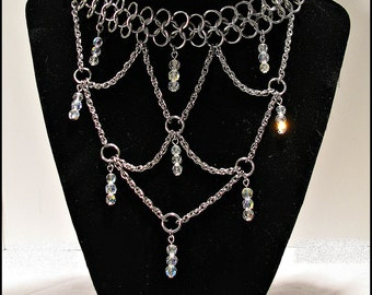 The Duchess Crystal Clear Rainbow AB Chainmail  Chainmaille Royalty Necklace