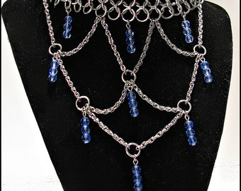 The Duchess Crystal  Sapphire Blue Chainmail  Chainmaille Royalty Necklace